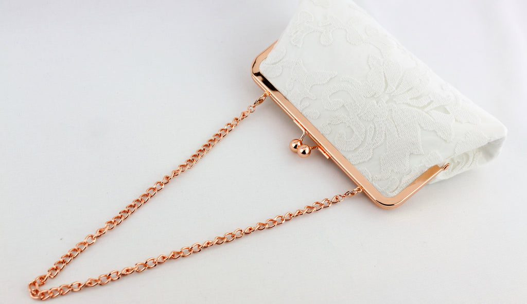 kisslock clutch with chain, rose gold kisslock clutch, bridal clutch