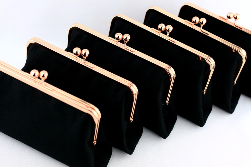 Rose Gold Kisslock Clutch, Rose Gold Wedding Clutch, Bridesmaids Clutch in Rose Gold