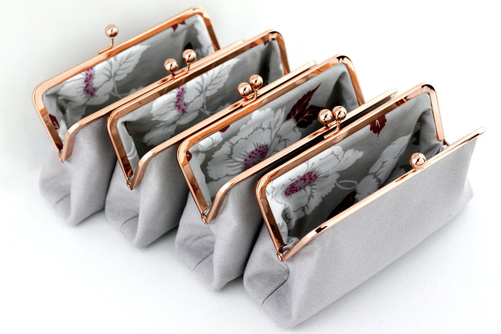 Rose Gold Wedding Clutch, Rose Gold Bridesmaids Clutch, Kisslock Clutch, Frame Clutch