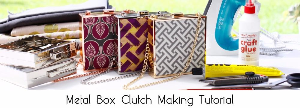 metal box clutch making tutorial, how to make a box clutch, frame box clutch making