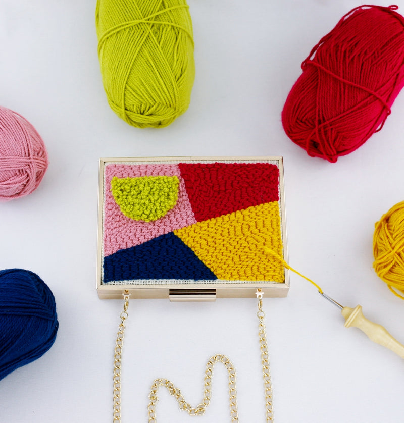 Punch Needle Embroidery Minaudiere Clutch with Hollow Metal Frame | SUPPLY4BAG