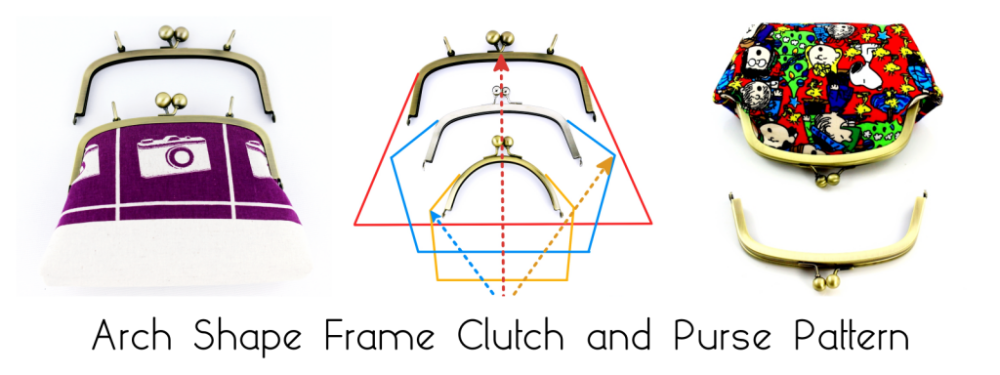 arch shape metal purse frame pattern, clutch making tutorial, how to draw pattern for arch shape purse frame