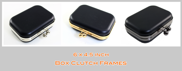 6 inch kiss lock box clutch, medium box clutch, box clutch, Clamshell MINAUDIÈRE Clutch frame