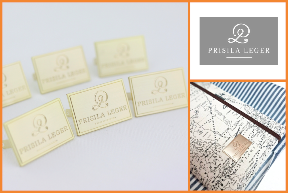 custom metal label, custom engraved metal logo, design your brand logo, metal label for handbag clutch