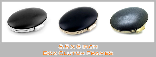 Oval Shape Box Clutch Frame in Silver, Gold & Brass