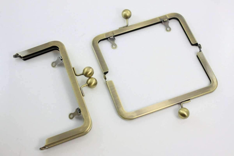 6 x 3 inch - Ball Closure - Antique Brass Metal Purse Frame with Chain Loops | SUPPLY4BAG
