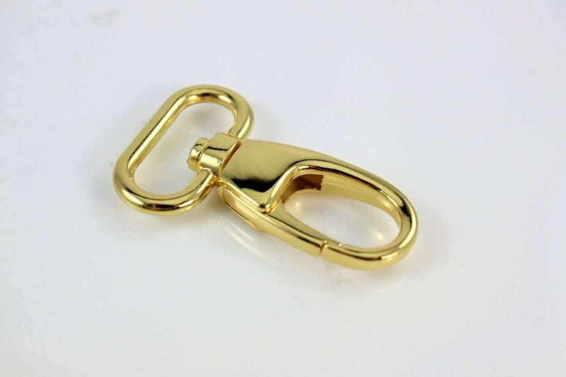 Gold Lobster Swivel Hooks - 1 inch (2.5cm) inside wide - 10 pieces | SUPPLY4BAG
