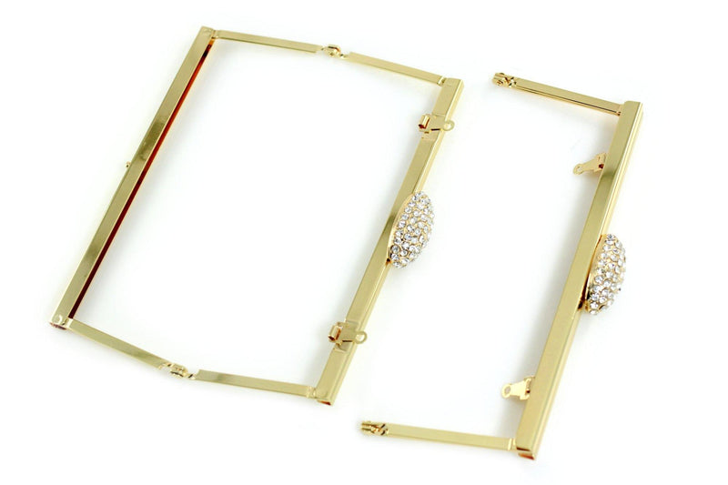 6.5 x 2.5 inch - Rhinestone Closure - Gold Open Channel Clutch Frame with Chain Loops | SUPPLY4BAG