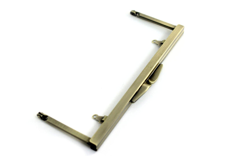 6 3/4 x 2.5 inch - Del Mar - Antique Brass Open Channel Clutch Frame with Chain Loops | SUPPLY4BAG