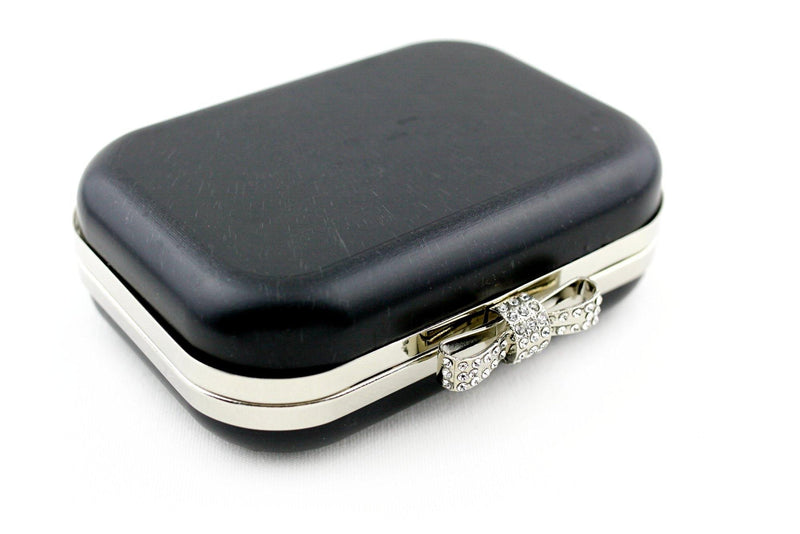 6 x 4.5 inch - Rhinestone Bow - Silver Minaudière Metal Clutch Frame | SUPPLY4BAG