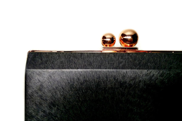 7 1/2 x 4 1/8 inch  - Sisters Ball Closure - Rose Gold Rectangle Minaudière Clutch Frame | SUPPLY4BAG