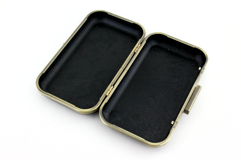 7 3/4 x 4.5 inch - Square Closure - Antique Brass Rectangle Minaudière Clutch Frame | SUPPLY4BAG