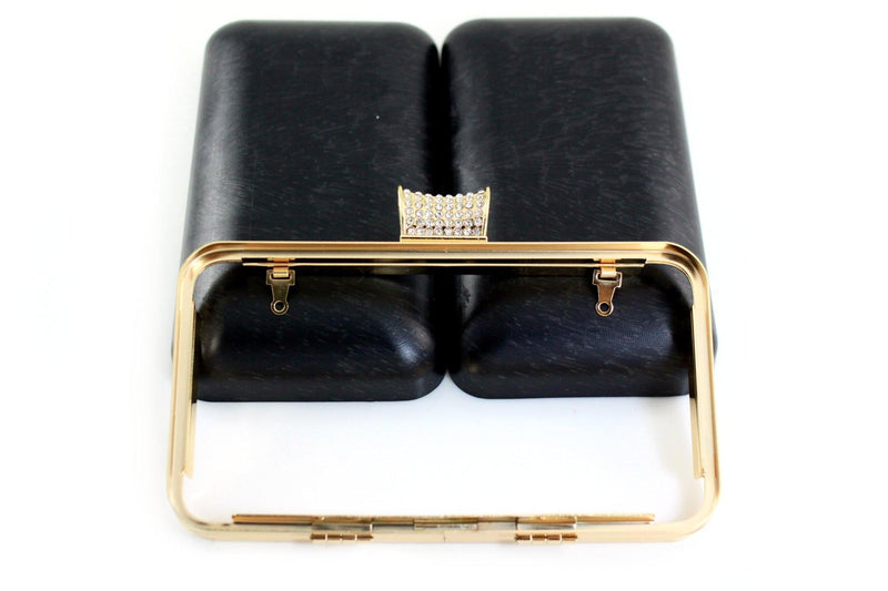 7 x 4 inch - Rhinestone Closure - Golden Rectangle Metal Purse Frame with Covers | SUPPLY4BAG