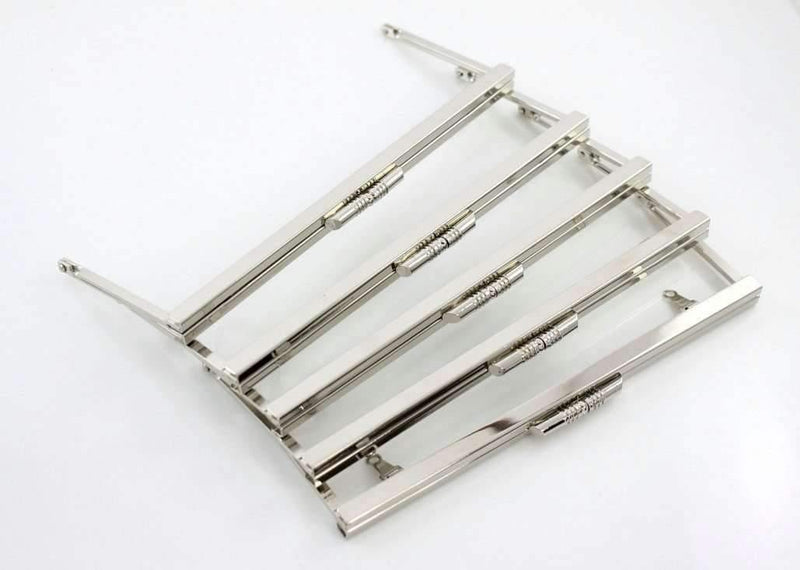 8 x 3 inch - Modern - Large Silver Open Channel Clutch Frame with Chain Loops | SUPPLY4BAG