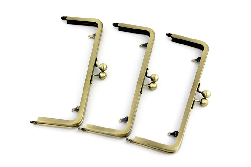 8 x 3 inch - Antique Brass Metal Purse Frame with Chain Loops | SUPPLY4BAG