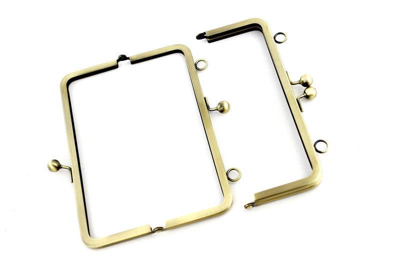 8 x 3 inch - Antique Brass Metal Purse Frame with Chain Loops on Top | SUPPLY4BAG