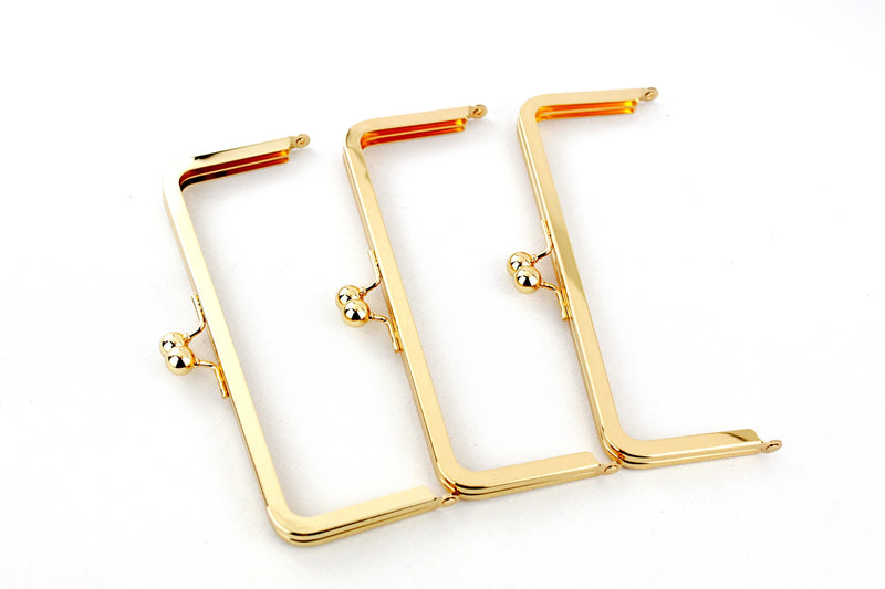 8 x 3 inch - Golden Metal Purse Frame | SUPPLY4BAG