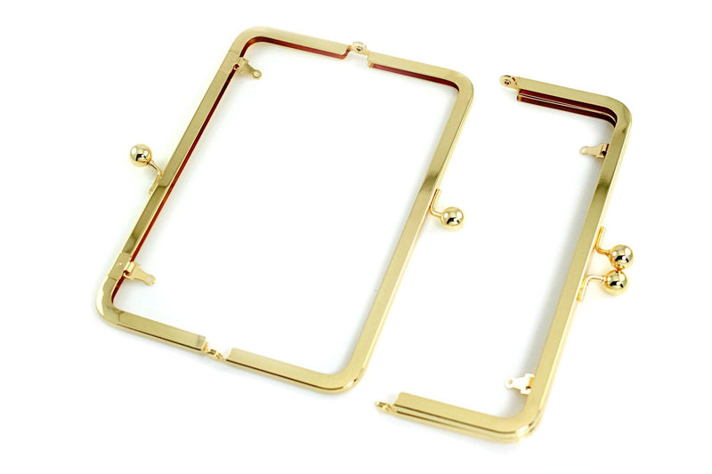 8 x 3 inch - Golden Metal Purse Frame with Chain Loops | SUPPLY4BAG