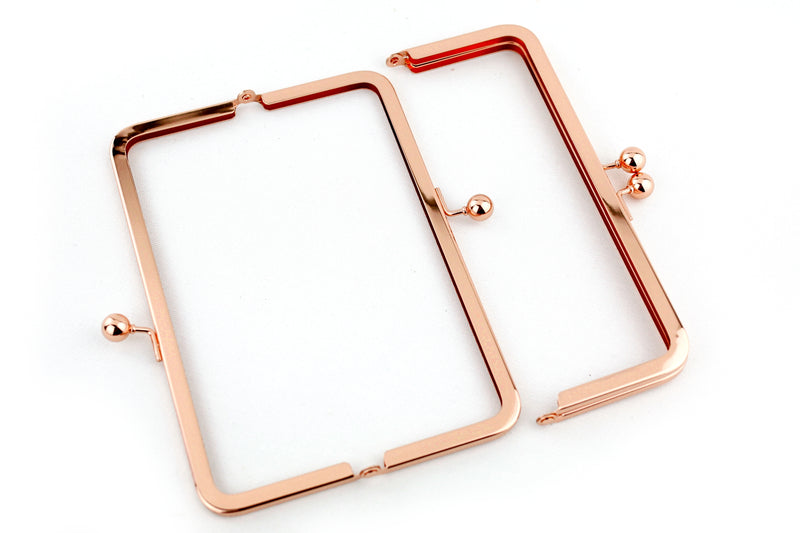 8 x 3 inch - Rose Gold Metal Clutch Frame | SUPPLY4BAG