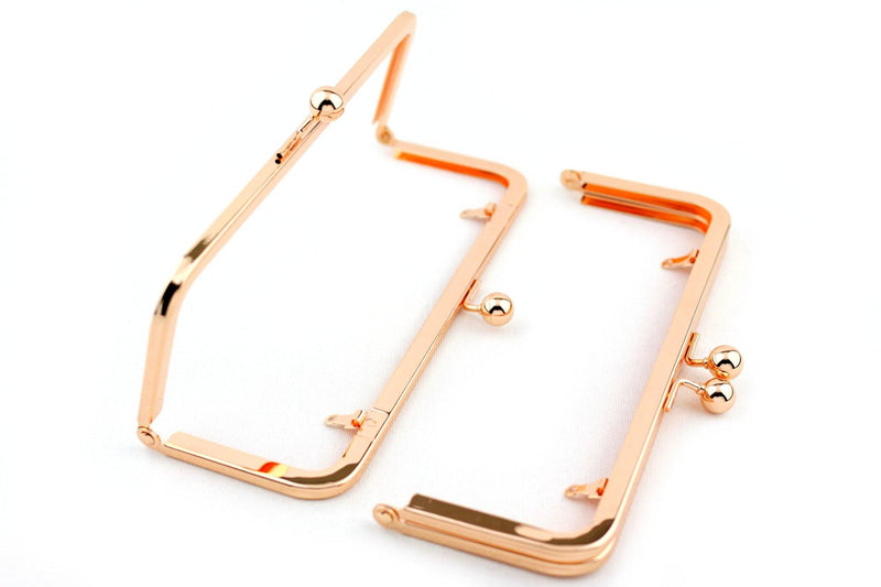 8 x 3 inch - Rose Gold Metal Clutch Frame with Chain Loops | SUPPLY4BAG