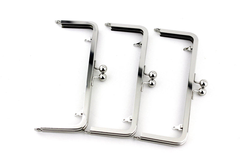 8 x 3 inch - Silver Metal Clutch Frame with Chain Loops | SUPPLY4BAG