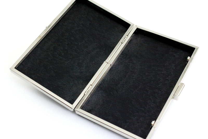 8 x 4 3/4 inch - Silver Rectangle Minaudiere Clamshell Clutch Frame | SUPPLY4BAG