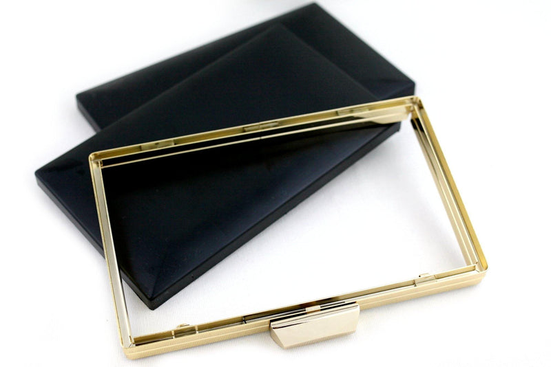 8 x 4 3/4 inch - Trapezoid Closure - Gold Rectangle Metal Clutch Frame | SUPPLY4BAG