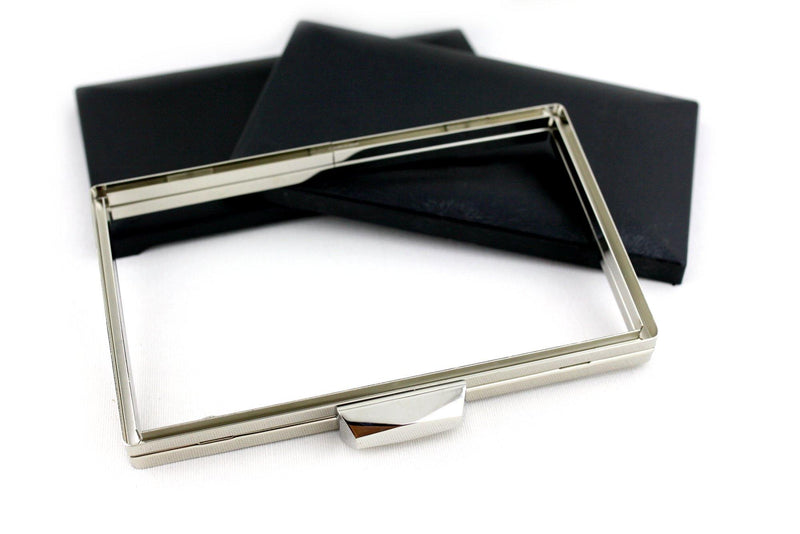 8 x 4 3/4 inch - Trapezoid Closure - Silver Rectangle Metal Clutch Frame | SUPPLY4BAG