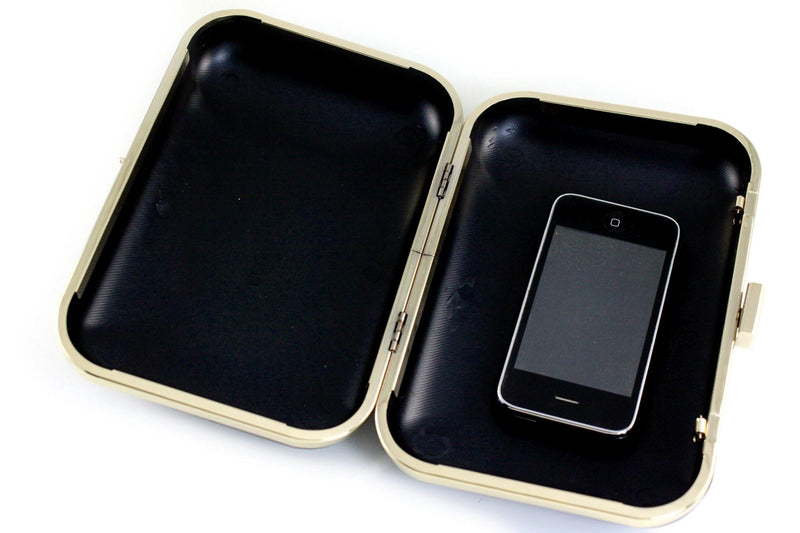 8 x 5.5 inch - Golden Metal Minaudiere Clamshell Clutch Frame | SUPPLY4BAG