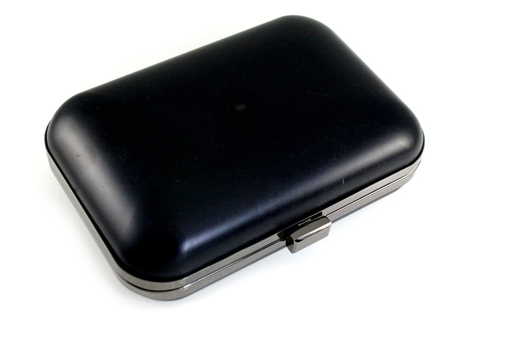 8 x 5.5 inch - Gunmetal Metal Minaudiere Clamshell Clutch Frame | SUPPLY4BAG
