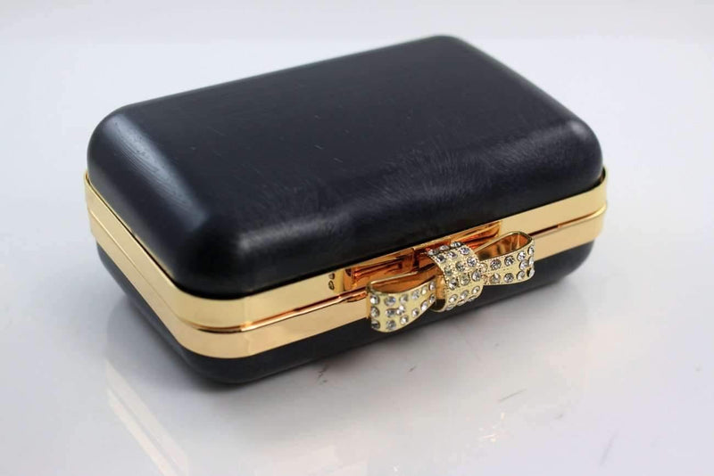 5 3/8 x 3.5 inch - Rhinestone Bow - Gold Minaudière Metal Clutch Frame | SUPPLY4BAG