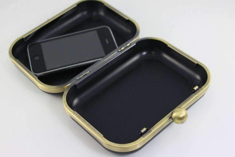 6 x 4.5 inch - Single Ball - Antique Brass Minaudière Metal Clutch Frame | SUPPLY4BAG