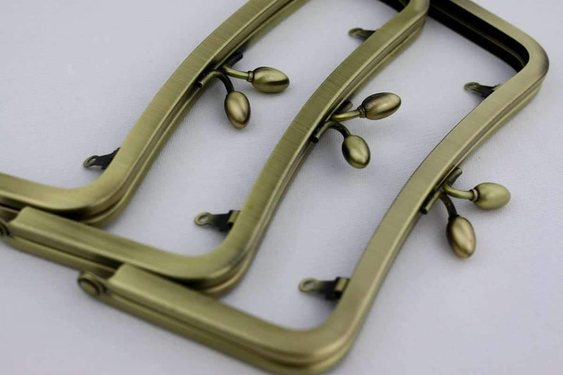 7 x 3 inch - Teardrop Closure - Antique Brass Concave Purse Frame with Chain Loops | SUPPLY4BAG