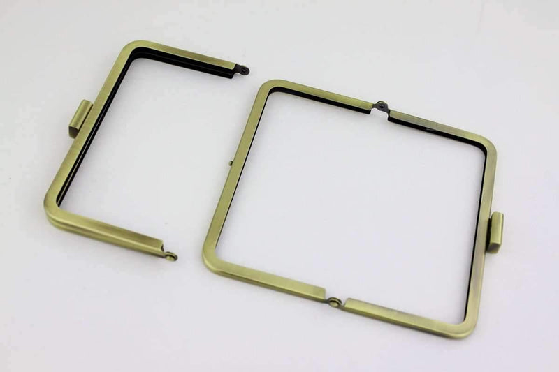 6 3/4 x 3 3/4 inch - Square Clasp - Antique Brass Clutch Frame | SUPPLY4BAG