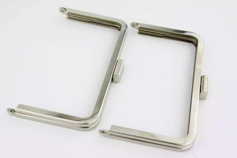 6 3/4 x 3 3/4 inch - Square Clasp - Silver Clutch Frame | SUPPLY4BAG