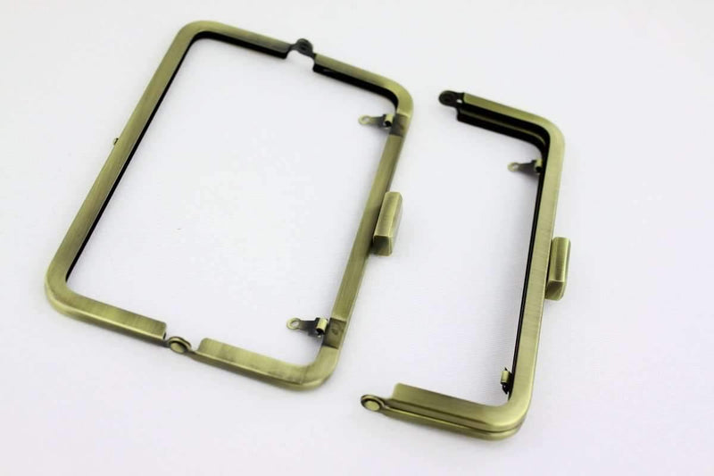 7 x 2.5 inch - Square Closure - Antique Brass Metal Purse Frame | SUPPLY4BAG