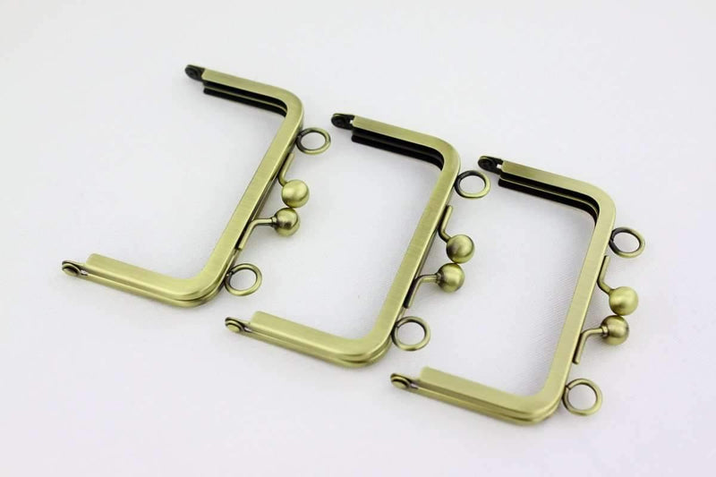 4 x 2 1/4 inch - Ball Closure - Antique Brass Coin Purse Frame with Chain Loops on Top | SUPPLY4BAG
