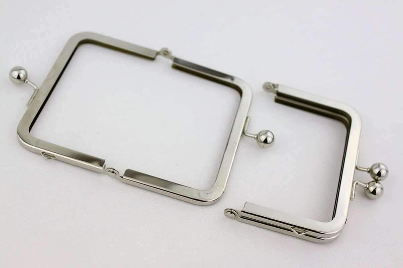 4.5 x 3 inches - Ball Closure - Silver Coin Purse Frame with ONE Loop Outside | SUPPLY4BAG