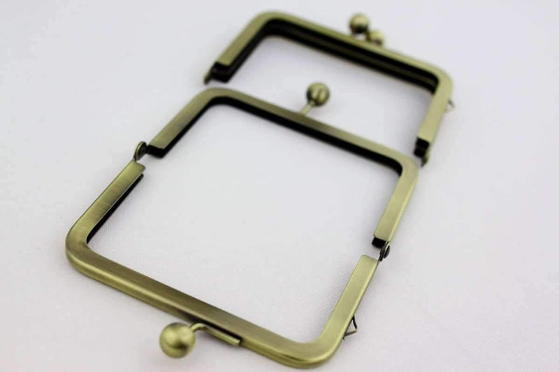 4.5 x 3 inches - Ball Closure - Antique Brass Coin Purse Frame with ONE Loop Outside | SUPPLY4BAG