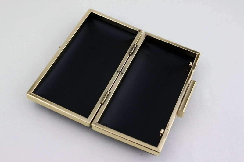 6.5 x 3 1/4 inch - Square Clasp - Gold Rectangle Clutch Frame with Covers | SUPPLY4BAG