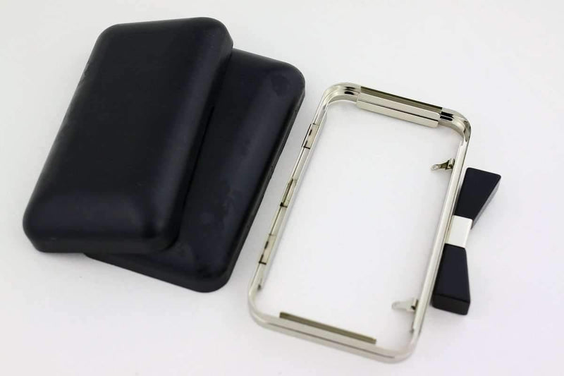 7 x 4 inch - Bow Closure - Silver Rectangle Metal Purse Frame with Covers | SUPPLY4BAG