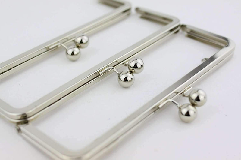 9 x 3 inch - Silver Large Kisslock Metal Clutch Frame with Chain Loops | SUPPLY4BAG