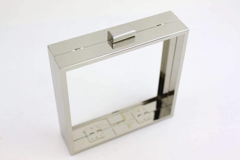 5.5 x 5.5 inch - Silver Square Clutch Frame with Chain Loops | SUPPLY4BAG