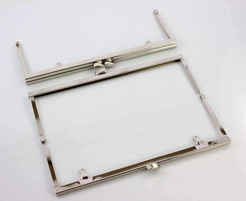 8 x 3 inch - Flat - Large Silver Open Channel Purse Frame with Chain Loops | SUPPLY4BAG