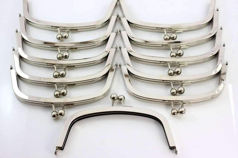 6.5 x 2.5 inch - Ball Closure - Silver Arch Shape Metal Purse Frame | SUPPLY4BAG