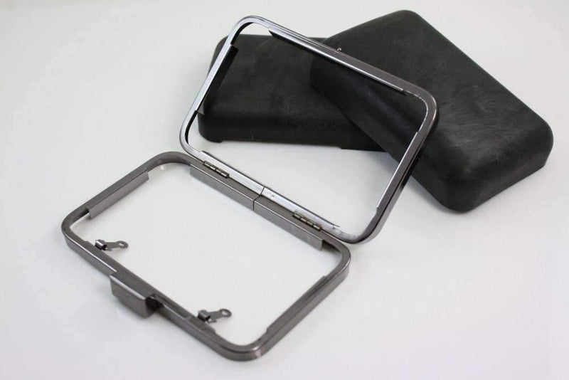 5 3/8 x 3.5 inch - Gunmetal Minaudière Metal Clutch Frame | SUPPLY4BAG