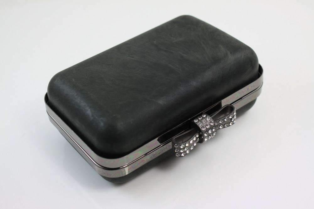 5 3/8 x 3.5 inch - Rhinestone Bow - Gunmetal Minaudière Metal Clutch Frame | SUPPLY4BAG