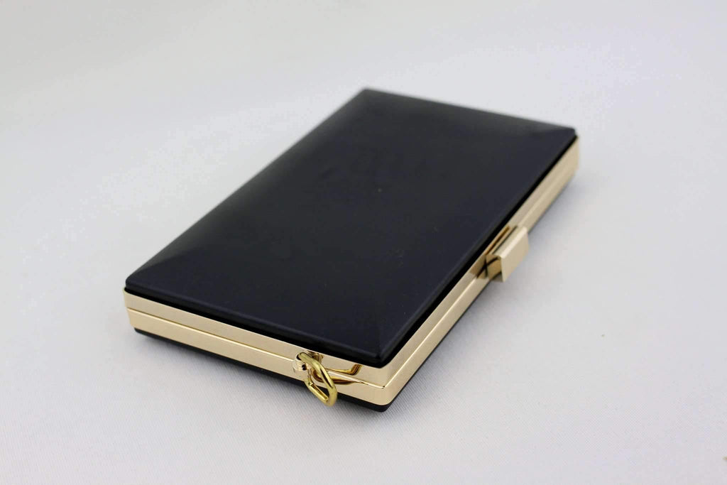 8 x 4 3/4 inch - Square Closure - Gold Rectangle Box Clutch Frame with D Rings | SUPPLY4BAG
