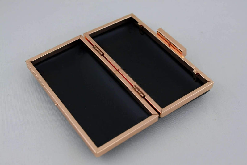 6.5 x 3 1/4 inch - Square Clasp - Rose Gold Rectangle Clutch Frame with Covers | SUPPLY4BAG