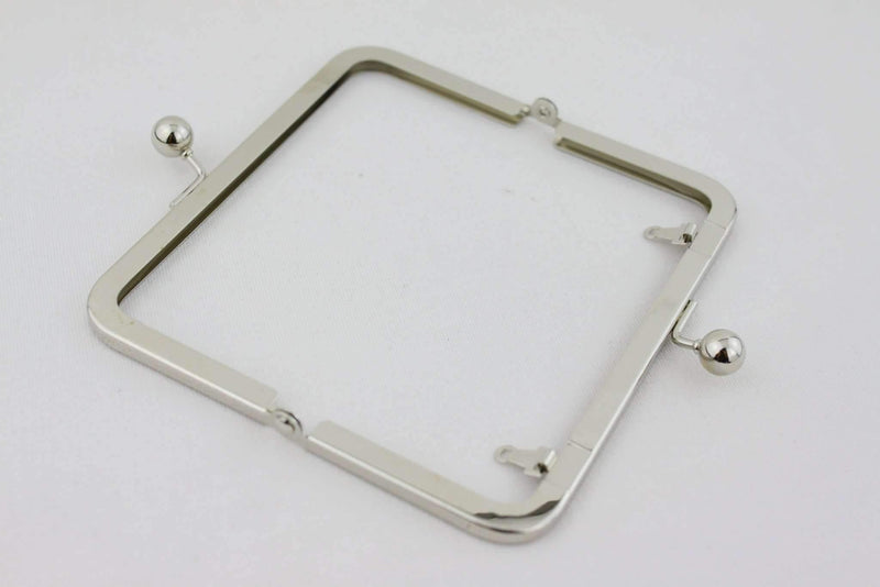 6 x 3 inch - Ball Closure - Silver Metal Purse Frame with Chain Loops | SUPPLY4BAG